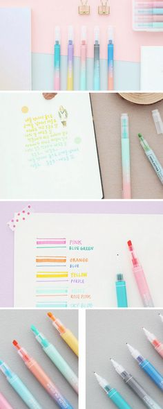 ... with these two tone kawaii pastel highlighters! Twin Deco Pens Set   10  colors     Two ways Deco Pens Set. This etsy shop has amazing stationery. c420a89377c5