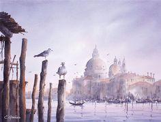 Кристиан Гранью. /Christian Graniou. Les deux Mouettes #watercolor, #illustration, #artwork