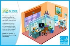 What steps can everyone take to save energy at work? Find out by touring this fun, interactive cubicle! Energy Use, Energy Star, Save Energy, Power Ran, Energy Saving Tips, Find Work, Book Show, Cool Tools, Online Work
