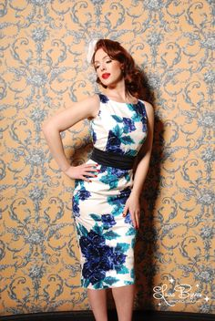 The Amelia Dress and Matching Jacket in Blue Floral from Pinup Couture