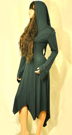 Long Dark Green Elven Faery Pixie Dress with Brown Pipings and Pixie Hood, Size S/M, IN STOCK