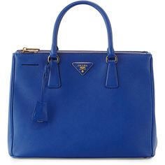 Prada Saffiano Double-Zip Executive Tote ($2,350) ❤ liked on Polyvore featuring bags, handbags, tote bags, bolsas, purses, borse, royal blue, leather zipper tote, genuine leather tote and zippered tote bag