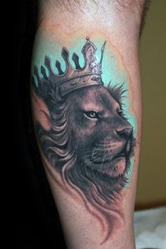 Blue Watercolor Lion With Crown Guys Leg Calf Tattoos