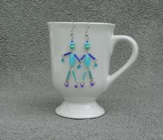 Blue turquoise little man friend beaded OOAK by SusanRodebushArts, $12.00