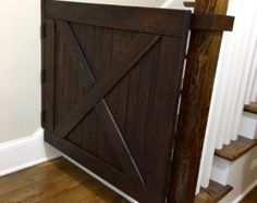 Barn Door Style Solid Oak Baby Gate or Pet Gate Made with Reclaimed Barn Wood Baby Gate For Stairs, Barn Door Baby Gate, Diy Baby Gate, Stair Gate, Baby Gates, Pet Gate, Door Gate, Barn Doors, Staircase Gate
