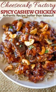 Cheesecake Factory's Spicy Cashew Chicken is spicy, sweet, crispy & crunchy, this dish is everything you could hope for and more in a copycat Chinese food recipe! - Cheesecake Factory's Spicy Cashew Chicken (Copycat) - Dinner, then Dessert The Cheesecake Factory, New York Cheesecake Rezept, Cashew Cheesecake, Cheesecake Factory Spicy Cashew Chicken Recipe, Cashew Chicken Sauce, Healthy Cheesecake, Healthy Desserts, Spicy Recipes, Turkey Recipes