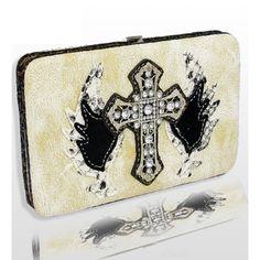 Handbags, Bling & More! Ivory Fashion Cross & Wing Wallet : Western Style Cross Wallets