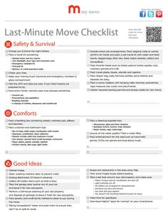 Last-Minute Checklist: create a last-minute move checklist so you can relax the day before your big move!