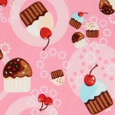 pink cupcakes fabric cherry Robert Kaufman kawaii (Sold in multiples of 0.5 meter)  Amazon.com modes4u $10.06