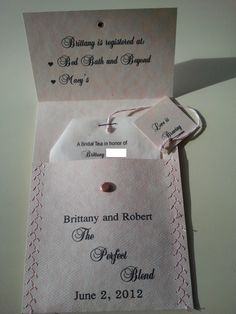 Shower Invites for my daughter's Formal Tea :  wedding bridal shower bridal tea invitation invitations tea bag FrontOpened