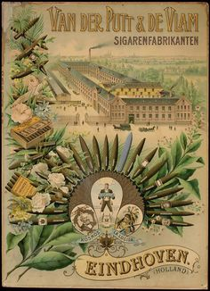 Firma van der Putt en de Vlam Sigarenfabranken, Eindhoven met de Catharinakerk op de achtergrond