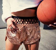 Bronze Shorts!   More sports luxe fashion here - http://dropdeadgorgeousdaily.com/2014/03/cheap-fashion-9/