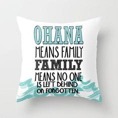 ohana means family.. lilo and stitch disney... Throw Pillow