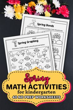 I'm so happy I found these kindergarten math worksheets in pdf format perfect for spring time and mothers day. I use them for my common core lesson plans. It also includes some free printable math addition worksheets for kindergarten that I used with my early finishers and math centers. This set includes so many sheets and pages that I created a special workbook for each of my students so they can practice, addition, counting, subtraction, make a pattern and more. 1st Grade Activities, Kindergarten Math Worksheets, Spring Activities, Learning Activities, Addition Worksheets, Math Addition, Sight Word Coloring, Spring Words, Number Recognition