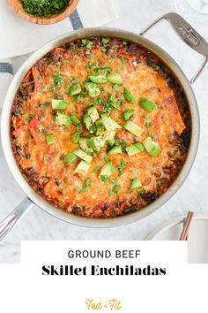 These ground beef skillet enchiladas have all of the delicious flavors of traditional enchiladas but require none of the fuss! Plus, we've included a hidden veggie for an added nutritional boost! Skillet Enchiladas, Ground Beef Enchiladas, Meat Recipes, Healthy Recipes, Healthy Dinners, Healthy Foods, Free Recipes, Easy Weeknight Meals, Party