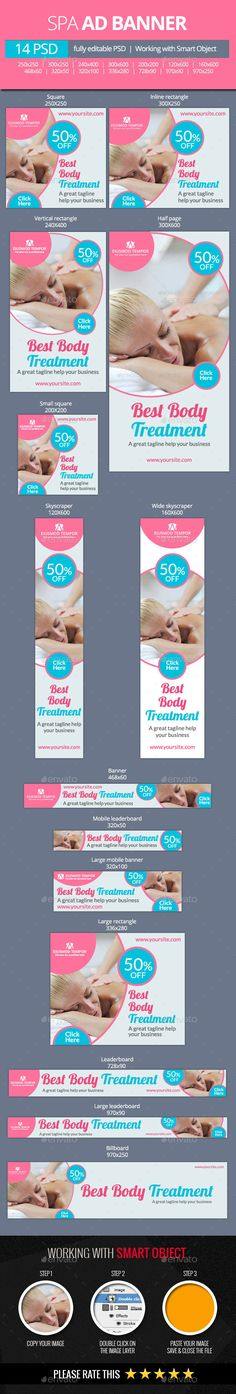 Spa and Beauty Treatments Web Banners Template