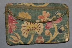 American Pocketbook:1740-1780 Wool; Silk; Linen; Cardboard; Canvas;Embroidered, Woven (plain), Sewn, Canvaswork