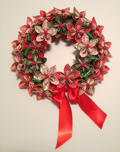 "Origami/Kusudama Christmas Paper Flower Wreath 12"". $34.99, via Etsy."