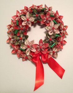 Origami/Kusudama Christmas Paper Flower Wreath by kreationsbykia, $42.50