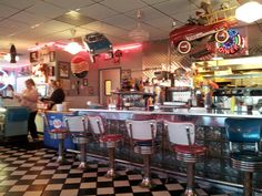 The 63 Diner in Columbia, MO looks like you just stepped back in time to the 1950's. With the waitresses dressed in poodle skirts and saddle oxfords and the waiters dressed in bowling shirts with their hair slicked back, it definitely gives it an authentic feel! Try the delicious burgers and a chocolate milkshake!