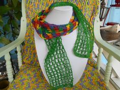 This scarf makes a fashion statement and will go with most of your outfits. Cheerful is made from crochet thread.www.KaysKoolKrochet.Etsy.com