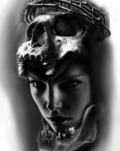 Girl Face Tattoo, Girl Face Drawing, Lion Tattoo Sleeves, Sleeve Tattoos, Sketch Tattoo Design, Tattoo Designs, Dark Art Illustrations, Skull Artwork, Tattoo Project