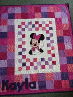 Minnie Mouse Quilt and Mickey Mouse Quilt Disney Themed Toddler ... : minnie mouse quilt panel - Adamdwight.com