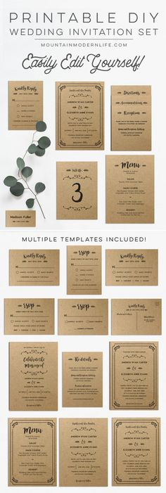 beautiful rustic wedding invitations editable instant download templates you can print as many as you need wedding invitations vinewedding pinterest