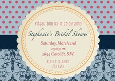 Damask Bridal Shower or Baby Shower invite, personalized and printable, 5x7. $11.00, via Etsy.