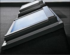 VELUX ECX Flat Roof Timber Kerb Velux Windows Installation, Residential Skylights, Skylight Design, Flat Roof House, Roof Window, Exterior Remodel, Blinds For Windows, Glass House, River Cottage