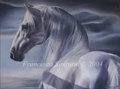 Mounted limited edition giclee print of Francesca Simpsons original acrylic painting, The Horse.    Image size: 13.25 x 18 inches  Mounted size: