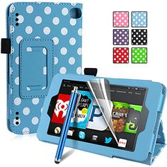 Pasonomi® Amazon Kindle Fire HD 7 Case [2014 Oct Release]- Premium PU Leather Folio Case SmartShell Cover for Amazon Fire HD 7 4th Generation (2014) (With Smart Cover Auto Wake / Sleep) (Polka Dots- Light Blue)