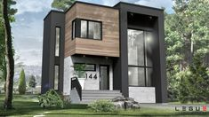 House Plan ë leguë architecture Modern Condo, Modern House Plans, Small House Plans, Modern House Design, Sims House, Industrial House, Modern Exterior, House Layouts, Cozy House