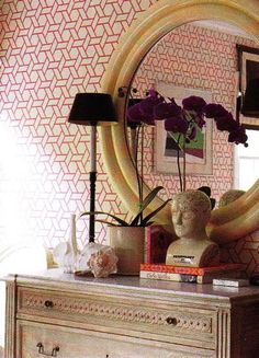Patterned wall and mirror