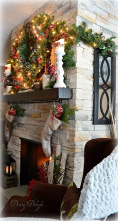 Dining Delight: Christmas Fireplace & Hearth