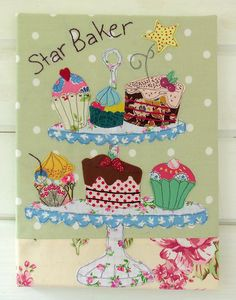 Star Baker Applique by Bustle & Sew Sewing Appliques, Applique Patterns, Applique Quilts, Applique Designs, Embroidery Applique, Embroidery Designs, Freehand Machine Embroidery, Free Motion Embroidery, Free Machine Embroidery