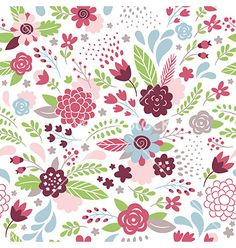 Floral seamless pattern vector 4383250 - by Lenlis on VectorStock®