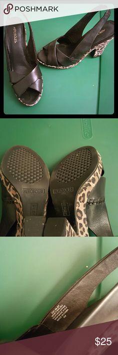Aerosols black leather slingback sandals Black leather upper and leopard print soles. Rawr! Size 6 AEROSOLES Shoes Sandals