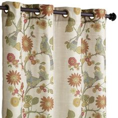Meet our soprano. This sweet little curtain with colorful birds and flowers is printed on a natural background of soft, linen-look polyester. With grommet top for hanging. And lined for light-blocking and privacy. All for a song.