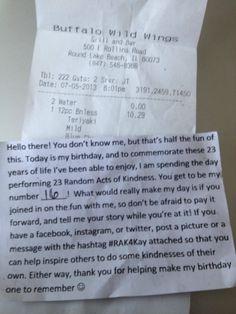 Birthday Random Act of Kindness - YES.