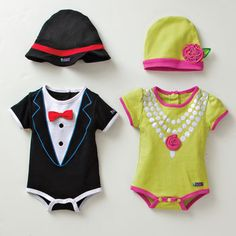 Posh baby outfits. Dapper suit and flapper onesie.