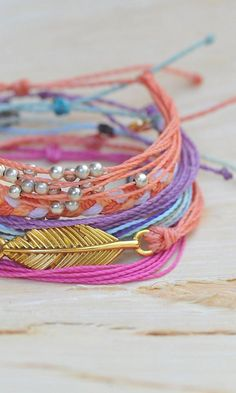 Pop of Pink and Gold Bracelets