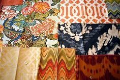 Imperial Trellis is often paired up with Chiang Mai Dragon fabric (to the left of it). Maybe for cushion? There are several colorways of both fabrics so there are lots of ways to pair the 2 patterns.