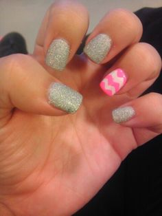 Glitter and hot pink chevoron nails