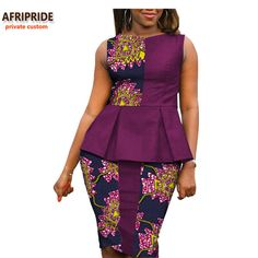 Online Shop 2018 Autumn african women casual suit AFRIPRIDE private custom sleeveless pleated top+knee-length pencil skirt plus size African Fashion Designers, African Fashion Ankara, Latest African Fashion Dresses, African Dresses For Women, African Print Dresses, African Print Fashion, Africa Fashion, African Attire, African Wear