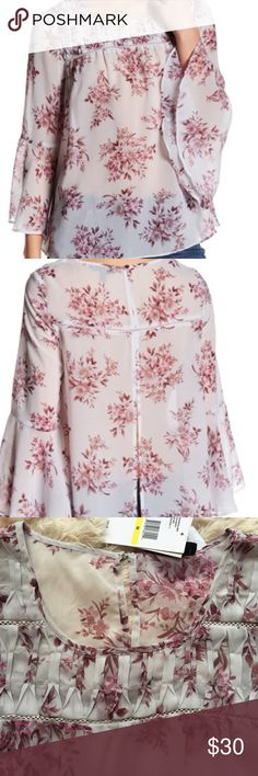 Jessica Simpson Top Light gray with violet floral print/long bell sleeves/pleated front yoke detail/100% polyester Jessica Simpson Tops