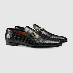 Gucci - Black Jordaan Crocodile Loafer for Men - Lyst Mens Moccasins Loafers, Loafers Men, Mens Designer Loafers, Designer Shoes, Gucci Men, Gucci Jordans, Gucci Horsebit Loafers, Men's Shoes, Shoes
