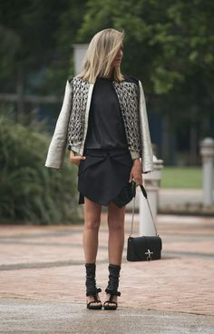 architectural asymmetric skirt by Dion Lee, Ellery bomber jacket, Prada t-strap ankle boot sandals, Givenchy Obsedia messanger bag #StreetStyle