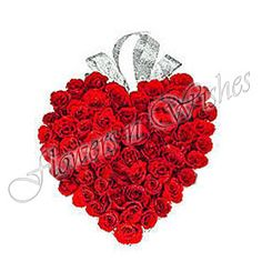 """Valentine Day Red Roses in Heart Shape  Red roses proclaim """"I love you."""" They are the ultimate symbol of romantic love and enduring passion. On this Valentine Day send beautiful Red Roses to your loved ones and show your feelings and emotions with flowersnwishes. Send Roses, Teddies, Chocolates, and Cakes to your loved ones in Mumbai. We take online orders for all the major cities in India on Valentine, Birthdays anniversary and other occasions"""