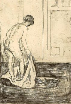 "dappledwithshadow: ""  Edvard Munch Woman Taking a Bath Dimensions: Sheet: 275-279x180-183 mm Image: 240x165 mm Medium: Intaglio print printed in black on medium thin cream wove Creation Date: 1902 """
